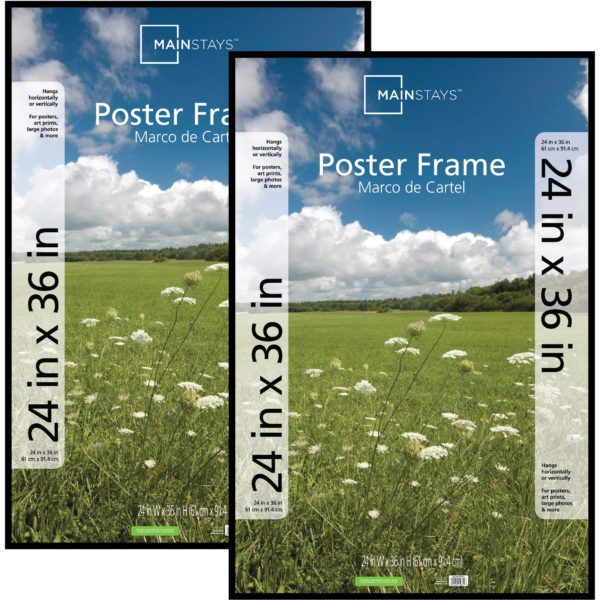 Mainstays 24x36 Basic Poster & Picture Frame, White, Set of 2