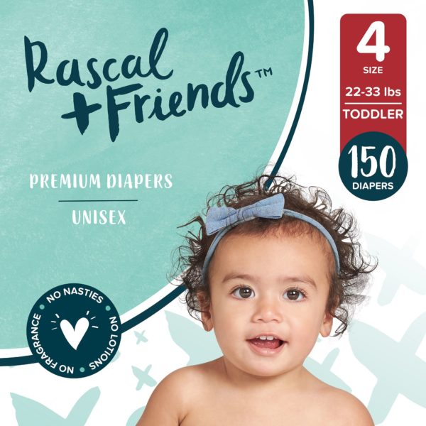 Rascal + Friends Premium Diapers, Size 4, 150 Count