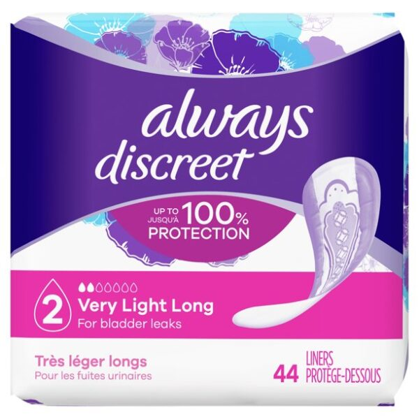 Always Discreet Incontinence Liners, Very Light Absorb, Long, 132 Ct