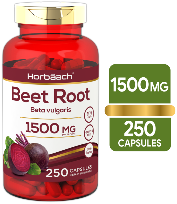 Beet Root Capsules 1500mg 250 Pills Herbal Powder Extract Non-GMO, Gluten Free Supplement by Horbaach