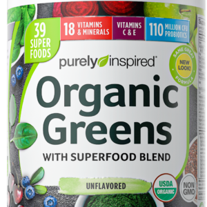 Purely Inspired Organic Greens Powder with Superfoods & Vitamins, Naturally Flavored, 24 servings