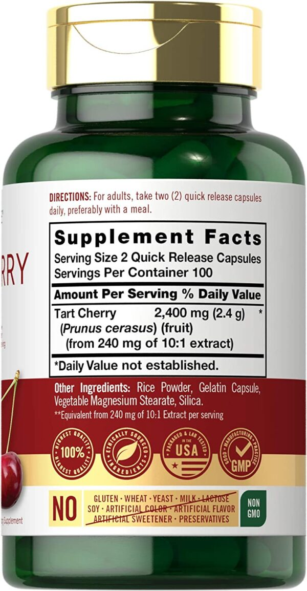 Tart Cherry Extract Capsules 200 Count 2400 mg Non-GMO and Gluten Free Supplement By Carlyle