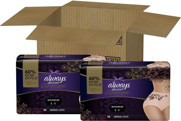 Always Discreet Boutique Incontinence & Postpartum Incontinence Underwear for Women, Large, 36 Count, FSA HSA Eligible, Maximum Protection, Disposable (18 Count, Pack of 2 - 36 Count Total)