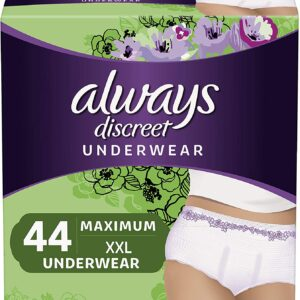Always Discreet Incontinence & Postpartum Incontinence Underwear for Women, XXL, 44 Count, FSA HSA Eligible, Maximum Protection, Disposable (22 Count, Pack of 2 - 44 Count Total)