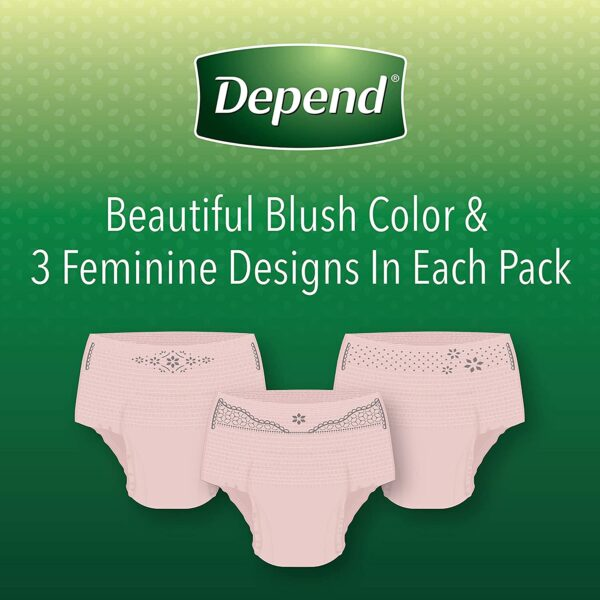 Depend FIT-FLEX Incontinence & Postpartum Underwear for Women, Disposable, Maximum Absorbency, Medium, Blush, 56 Count (2 Packs of 28) (Packaging May Vary)