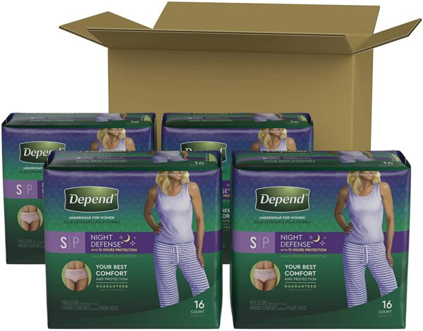 Depend Night Defense Incontinence Underwear for Women, Disposable, Overnight, Small, Blush, 64 Count (4 Packs of 16) (Packaging May Vary)