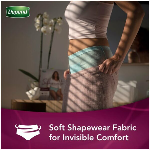 Depend Silhouette Incontinence & Postpartum Underwear for Women, Maximum Absorbency, Large & Extra-Large, Black, 52 Count