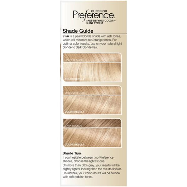 LOreal Paris Superior Preference Fade-Defying Shine Permanent Hair Color, 9.5A Lightest Ash Blonde, 1 Kit