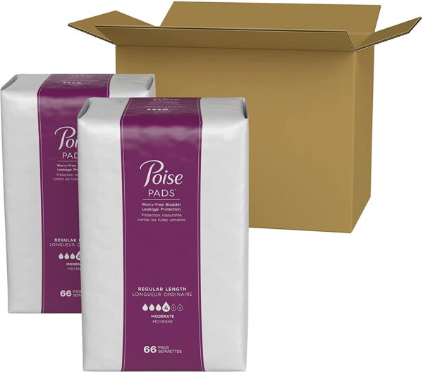 Poise Incontinence Pads for Women, Moderate Absorbency, Regular Length, 132 Count (2 Packs of 66) (Packaging May Vary)