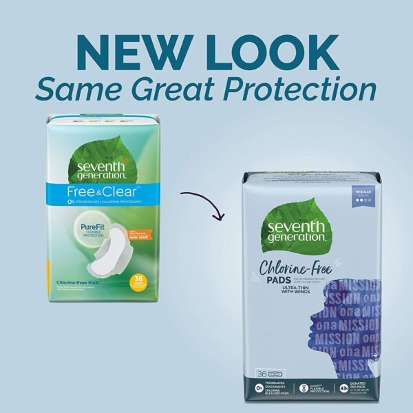 Seventh Generation Ultra Thin Pads, Regular With Wings, Free & Clear, 36 Count
