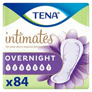 TENA Intimates Overnight Absorbency IncontinenceBladder Control Pad with Lie Down Protection Packaging May Vary, White, 84 Count